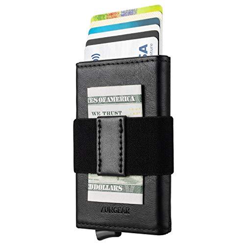 Tarjetero de Cuero para Tarjetas de Crédito, Cartera Tarjetero Pequeña Hombre Bloqueo RFID Billetera Minimalistas Banda Elástica para Billetes, Negro