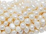 Perlas de agua dulce, perlas cultivadas de 8 mm, color blanco, grano de arroz natural, redondas, barrocas, perlas de concha, piedras preciosas para enhebrar, perlas de agua fresca.