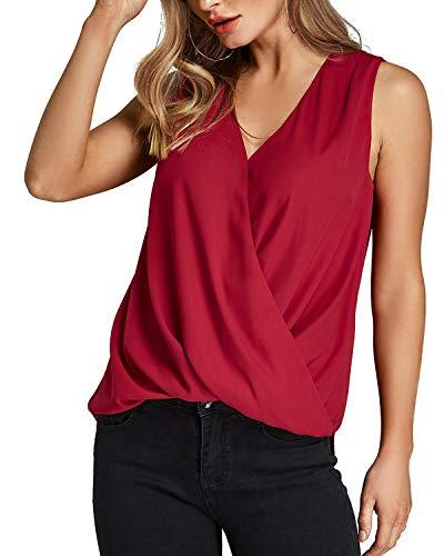 YOINS Camiseta Sin Mangas Mujer Camisola Gasa Camiseta con Cuello En V Camisa Trabajo Informal Playa Blusa Tops Verano Vino Rojo L