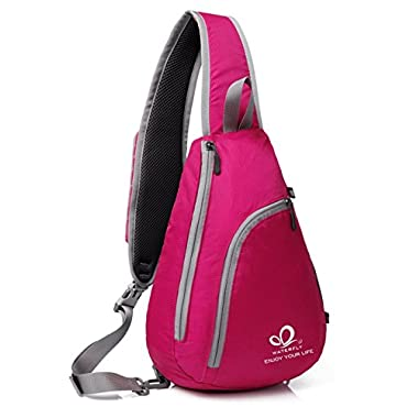 WATERFLY Chest Sling Shoulder Backpacks Bags Fashion Cute Crossbody Rope Triangle Rucksack for Hiking or Multipurpose Daypacks for Man Women Lady Girl Teens,ROSE