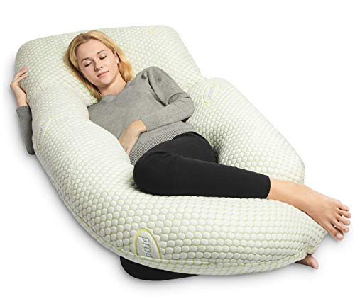 QUEEN ROSE Cooling Air Flow Pregnancy Pillow -Maternity Body Pillow U Shaped,Support Back/Neck/Head with Bamboo Cover