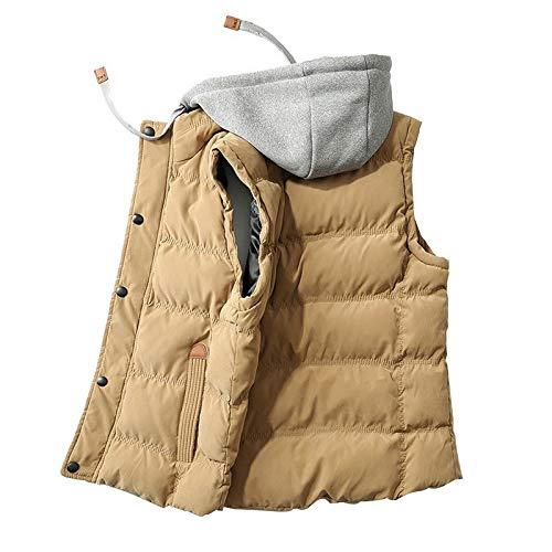 Herren Weste gepolstert Herbst Winter Down Weste aus Baumwolle ohne Ärmel Gr. XXL, kaki