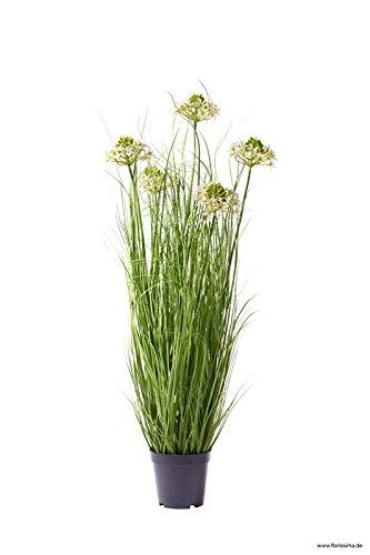 Klocke Kunstpflanzen Wunderschönes Dekogras mit Blüten im Topf - Hochwertig & Wie Echt - Gras Arrangement/Grasarrangement/Grasbündel/Kunstgras (Höhe: 65cm)