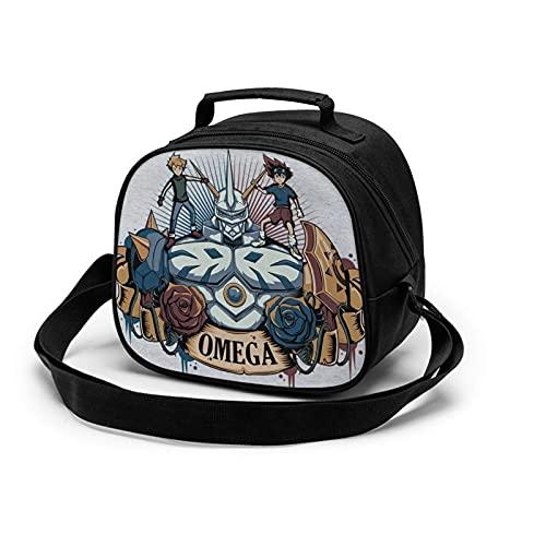 Omega Power Digimon Lunch Box Bag para niños y niñas, una bolsa de mano adecuada para el envasado de refrigerios fríos y calientes