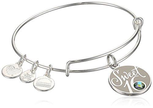 Image of the Alex and Ani Womens Sweet 16 EWB Bangle Bracelet, Shiny Silver, Expandable
