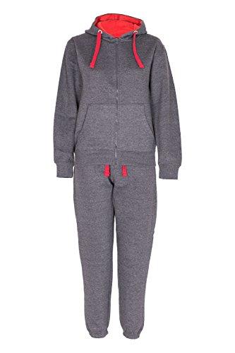 NOROZE Kids Boys Contrast Cord Full Zip Fleece Tracksuit Charcoal Red 11 12 Years