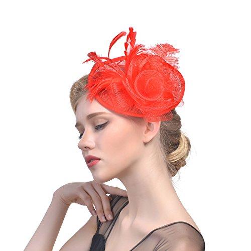 TEERFU Chapeau bibi élégant en maille filet avec plumes et voile - Rouge - Taille Unique