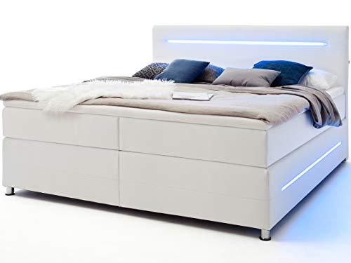 Wonello Boxspringbett 160x200 LED Beleuchtung - gemütliches Bett mit led Beleuchtung - Doppelbett 160x200 weiß mit Matratze und Topper
