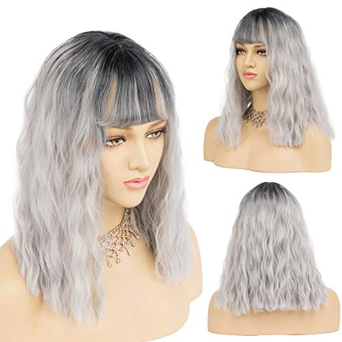 Wavy Short Bob Wigs With Air Bangs Shoulder Length 14 inch Silver Color with Dark Root Women's Short Wig Curly Wavy Synthetic Cosplay Wig for Girl Colorful Costume Wigs (14 Inch, Silver)