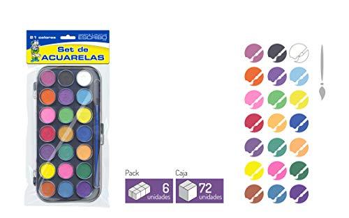 Estuche de 21 Acuarelas con Pincel - 2 Packs - Ideal para niños - Pintar Dibujos, Paisajes, Cuadros de Forma Facil.