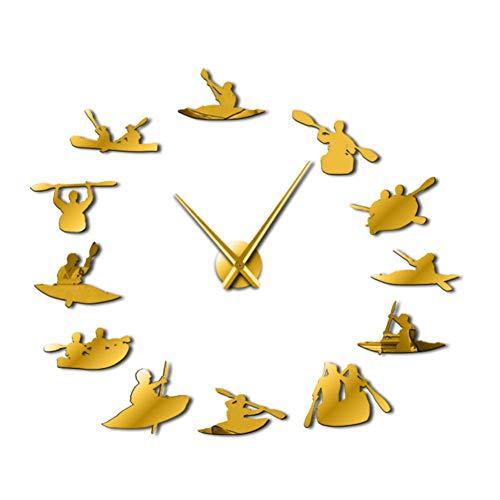 BBNNN Canotaje DIY Reloj de Gran tamaño Reloj Deportivo Moderno Rowing Reloj Big Time definido por el Usuario Sailor Seaman Shipmaster Frameless Room Decor