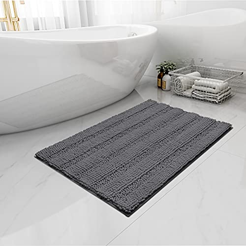 Easy-Going Luxury Chenille Striped Pattern Bath Mat, 18x25 in, Soft Plush Bath Rug, Absorbent Bathroom Rug, Non Slip Perfect Carpet Rugs for Shower, Bedroom, Front Door, Enterway (Gray)