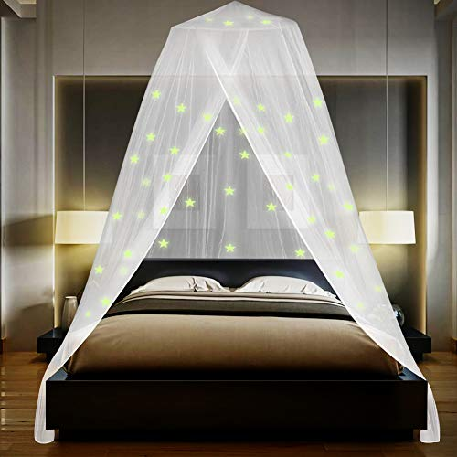 Omont Bed Canopy with Fluorescent Stars Glow in Dark, Mosquito Net for Baby, Kids, Girls or Adults, Suit for Cribs, Single Bed, Twin Bed or Full Size Bed