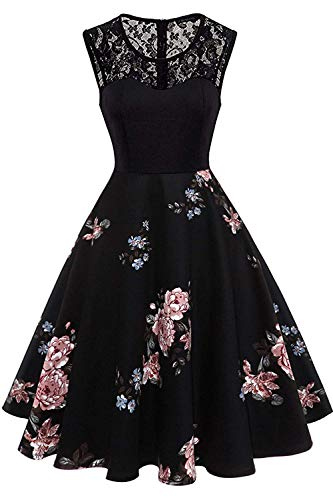 Axoe Damen 50er Jahre Rockabilly Kleid mit Blumenmuster Ärmellos, Farbe04, L (42 EU)