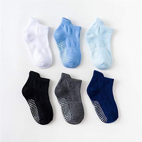 6 par/Lote 0 a 6 años Calcetines de Barco Antideslizantes de algodón para niños y niñas Calcetines de Chico de Piso de Corte bajo con empuñaduras de Goma Cuatro Estaciones-a3-1 to 3 Years
