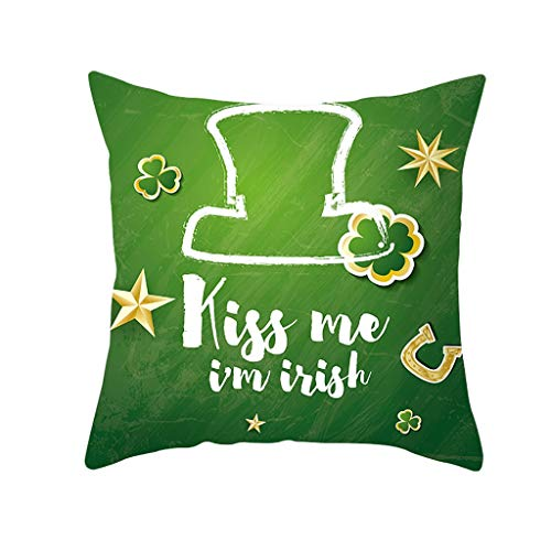 Sonojie Happy St. Patrick'S Day Cushion Cover Hugging Pillow Cover Square Decoration Set, Sofa Chair Office Home Accessories Bedroom Living Room Indoor and Outdoor Cushion Cover