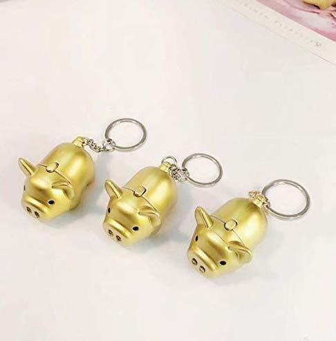 3 llaveros con linterna LED dorada con sonido de cerdo, juguete creativo para niños, diseño de cerdo, regalo para niños y amigos