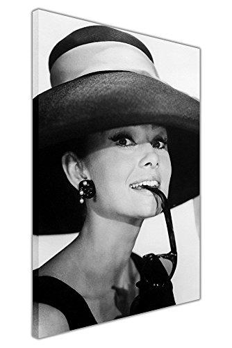 Gerahmtes Leinwandbild, Schwarz/Weiß, Audrey-Hepburn-Motiv, mit Sonnenbrille, Kunstdruck, schwarz / weiß, 02- A3 - 16