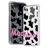 Idocolors Funda para iPhone 7 Plus/8 Plus Lindo Vaca Caso Antigolpes Ultra Fina TPU + PC Transparente Carcasa con Cojín de Esquina Parachoques Cover Case Anti-Caída