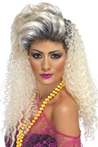 Smiffys dames jaren 80 lang krullende pruik met haarkleuring, waterstofblond, één maat, 42022