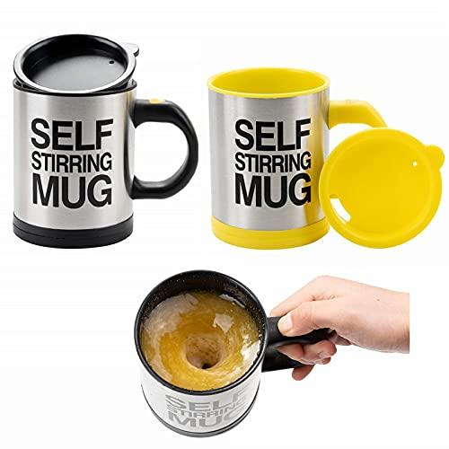 SOPRETY 2X Selbstumrührende Tasse, Selbstrührender Kaffeebecher, Selbst mischender Becher mit Deckel 400 ml Für Kaffee Milch Kakao Getränk, schwarz und gelb