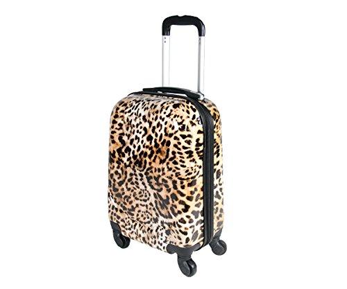 JustGlam - Bagaglio a mano da cabina Ormi Trolley ABS rigido quattro ruote adatto voli lowcost fantasia leopardo