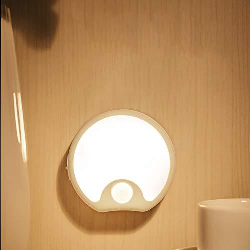 QEGY LED Luz de Noche Sensor Movimiento con Pilas, Lámpara de Noche Infantil Recargable USB, Luz de Pared Inalámbrica para Escalera, Gabinete, Protege a Ojos, Blanco Cálido