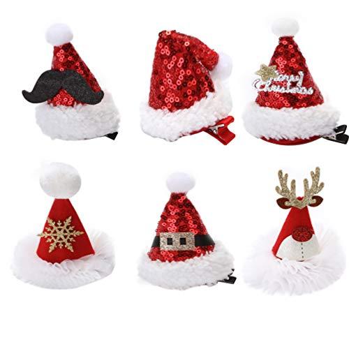 Lurrose Haarspange für Weihnachten, Weihnachten, Hut, Haar-Accessoires, glitzernd, für Kinder, Mädchen, Weihnachten, Party, Tüten