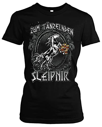 Tänzelden Sleipnir Dames Girlie T-shirt | Viking Walhalla Germanen Odin Bar Pub Kneipe Bier
