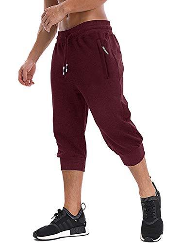 MAGNIVIT Men's Workout Jogging Pants Three Quarter Joggers with Zipper Pockets Burgundy