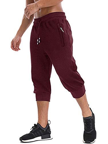 MAGNIVIT Men's Workout Jogging Pants Three Quarter Joggers with Zipper Pockets Burgundy