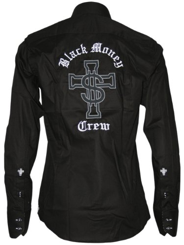 BLACK MONEY CREW Designer Hommes Chemise - BMC CROSS -M