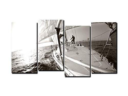 Starrysky Impresiones De Lienzo, Decoración del Hogar Pintura (4) Velero Mar Tinta EléCtrico La Pintura Decorativa Base (Sin Marco)(sin Marco)