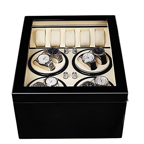 hyywmgx Caja automática de reloj con cuerda automática 8+5 caja de reloj de mesa con motor eléctrico giratorio Akira caja de madera blanca 8+5 + ébano