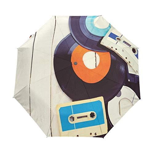SUHETI Regenschirm Taschenschirm,Schallplatten und alte Audio Nostalgie Musikkassetten Holztisch,Auf Zu Automatik,windsicher,stabil