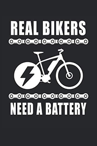 Real Bikers Need A Battery Ebike Elektrofahrrad Akku Batterie Radsport: Notizbuch - Notizheft - Notizblock - Tagebuch - Planer - Kariert - Karierter ... 6 x 9 Zoll (15.24 x 22.86 cm) - 120 Seiten