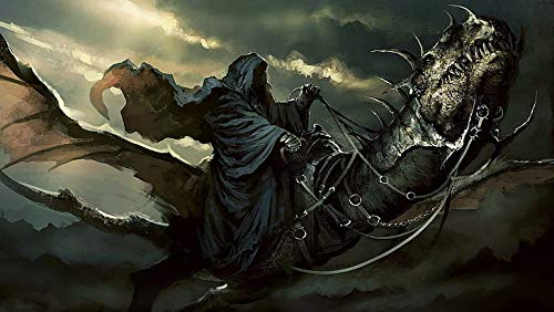 Póster gráfico de Lord of the Rings Nazgul Persona In Robe Riding Dragon (30,5 x 45,7 cm), multicolor