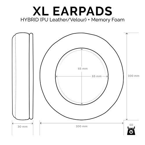 Brainwavz XL Hybrid Memory Foam Earpads for AKG 701 & Many Other Large Over The Ear Headphones - Sennheiser, JBL, Bayerdynamic, HifiMan, ATH, Philips, Fostex, Sony Ear Pads