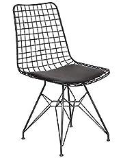 Draadstoel zwart gepoedercoat I eetkamer, kantoor / kantoor, lounge, make-uptafel, keuken I designer stoel Bertoia Wire-Chair Style