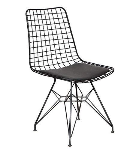 mina concept 29-1 Draht-Stuhl schwarz Pulverbeschichtet – 45cm Sitz-, 81cm Gesamthöhe mit Lehne – Sitzpolster schwarz