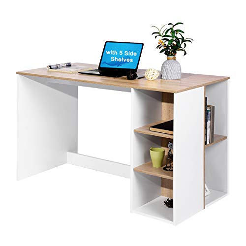 Office Computer Desk Wood Study Writing Desk with Storage, Modern Students Laptop Table Work Desk with 5 Shelves Large Home Workstation with Bookcase, Beech and White
