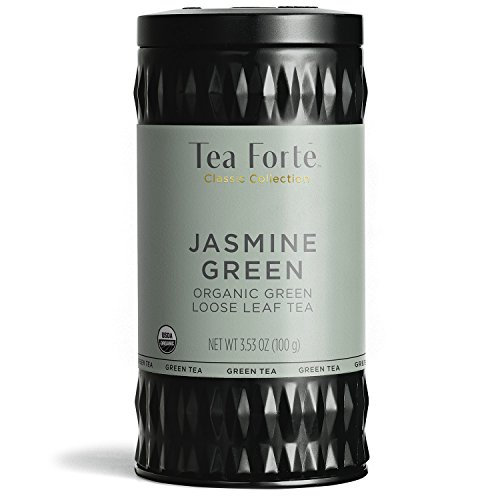 Tea Forte Organic Green Tea, Makes 35-50 Cups, 3.53 Ounce Loose Leaf Tea Canister, Jasmine Green
