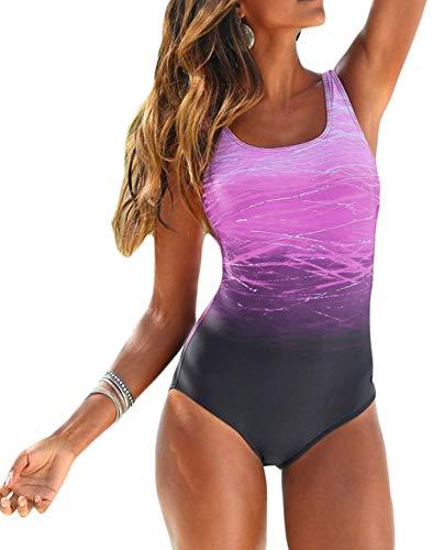 Diukia Women's Athletic High Cut One Piece Crisscross Printed Swimsuit Bathing Suit Monokini Swimwear Gradient Purple