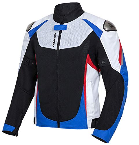 Moto Veste De Homme Motard Femme Imperméable Blouson Courte Motard Équipements Protection,White-XL