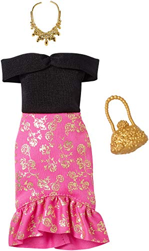 Barbie Complete Looks Doll Clothes, Outfit for Barbie Dolls Featuring Off-Shoulder Dress with Pink and Golden Floral Skirt and 2 Accessories, Gift for 3 to 8 Year Olds