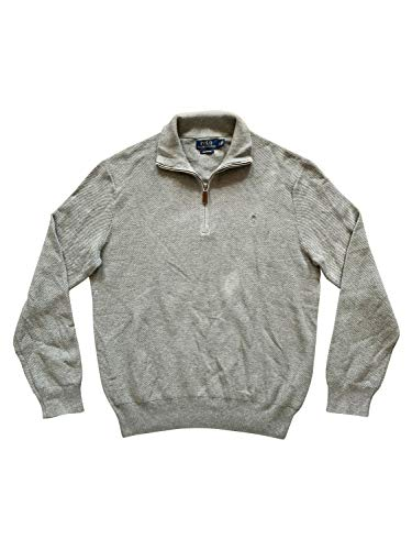 Polo Ralph Lauren Men's Waffle Knit Cotton Half-Zip Sweater (Large, Grey/Grey)