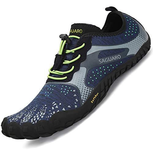SAGUARO Barfussschuhe Herren Zehenschuhe Barfußschuhe Outdoor Traillaufschuhe Training Fitnessschuhe Männer Minimalistische Blau 47 EU