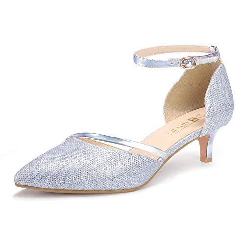 IDIFU Women IN2 Maxine Low Kitten Heels Dress Pumps Wedding Evening Formal Elegant Closed Toe Shoes For Women Bride (9 B(M) US  Silver)