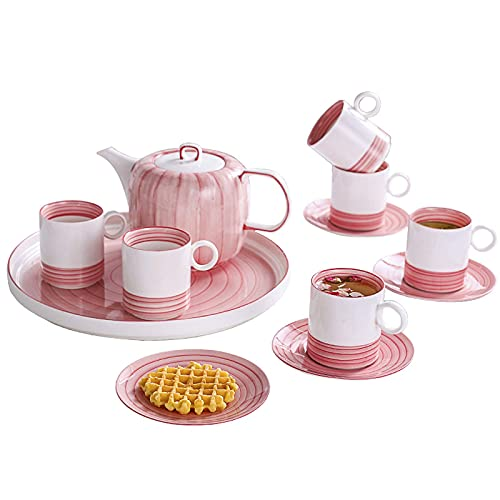 Tea Set For Adults Tea Cup And Saucer Sets Of 6 Afternoon Tea Set Pink Teapot Coffee Cup Set With Tea Tray Gift For Mother'S Day