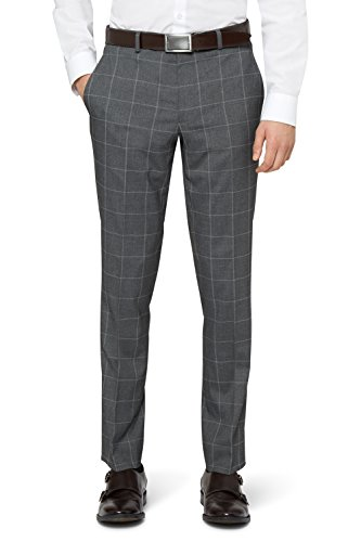 Moss London Men's Skinny Fit Grey Check Suit Pants 30S